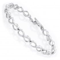 Luxurman Love Quotes: Sterling Silver Diamond Infinity Bracelet for Women