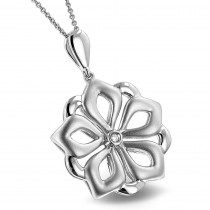 Luxurman Love Quotes Sterling Silver Ladies Diamond Flower Pendant w Chain