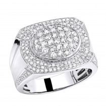 Luxurman Mens Diamond Ring in Solid 10k Gold 1.5ct