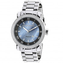 Luxurman Mens Diamond Watch 0.12ct Blue MOP