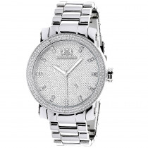 Luxurman Mens Diamond Watch 0.12ct Stainless Steel Band