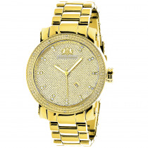 Large Luxurman Mens Diamond Watch 0.12ct Yellow Gold Plated Phantom