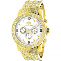 Luxurman Mens Diamond Watch 1ct. Yellow Gold