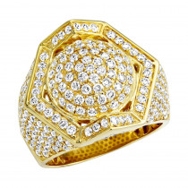Luxurman Mens Rings 14k Gold 3.5 Carat Diamond Ring for Men  Octagon Shape