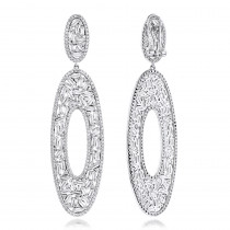 LUXURMAN Oval Designer Diamond Drop Earrings For Women in 14K Gold 9ct