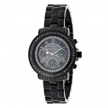 Luxurman Oversized Womens Black Diamond Watch 2.15ct