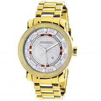Luxurman Phantom Yellow Gold Plated Mens Diamond Watch Extra Large 0.12ct