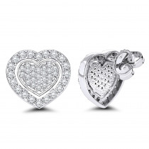 Luxurman Platinum Diamond Heart Earrings Studs 0.5ctw