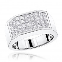 LUXURMAN Rings Unique Platinum Princess Cut Diamond Band for Men 3.25ct