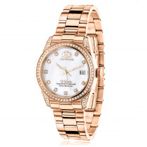 Luxurman Rose Gold Plated Diamond Watch for Women Tribeca Swiss Quartz