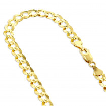 LUXURMAN Solid 10k Gold Curb Chain For Men Comfort 7mm Wide