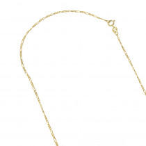 LUXURMAN Solid 14k Gold Figaro Chain For Men & Women 1.3mm Wide