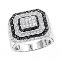 Luxurman Statement Jewelry 14K Gold White and Black Diamond Mens Ring 2.5ct