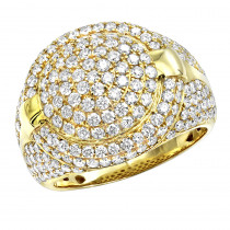Luxurman Statement Mens Diamond Rings 14k Gold Pinky Ring Round Shape 3.75c