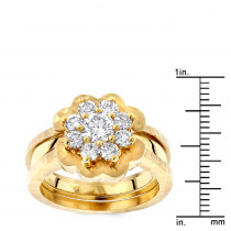 LUXURMAN Unique 14K Gold 3 Piece Diamond Flower Engagement Ring for Women