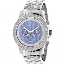 Luxurman Watches Mens Diamond Watch 0.25ct Blue