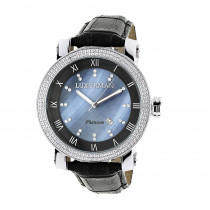 Luxurman Watches Mens VS Diamond Watch .18ct Blue MOP
