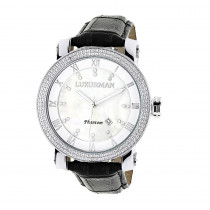 Luxurman Watches Mens VS Diamond Watch .18ct White MOP