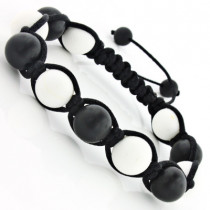 Matte Black and White Bead Bracelet