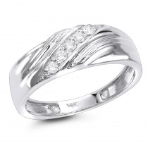 Mens 14K 5 Stone Diamond Wedding Band 0.20ct