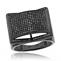Mens 14K Black on Black Diamond Ring 1 ct