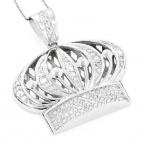 Mens 14K Gold Crown Diamond Pendant 1.37ct