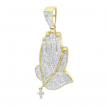 Mens 14K Gold Diamond Praying Hands Pendant with Cross 0.9ct by Luxurman