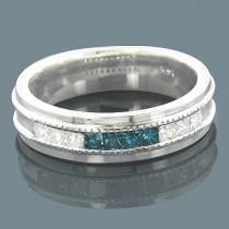 Mens 14K Gold White Blue Diamond Wedding Band 0.98ct