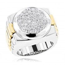 Mens 14K Two Tone Gold Diamond Ring with Pave Round Diamonds 2.04ct