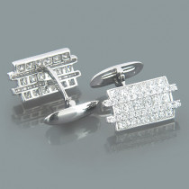 Mens 18K Gold and Diamond Modern Cufflinks 4.33ct