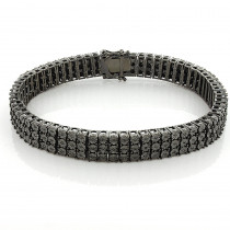 Mens 3 Row Black Diamond Bracelet 0.5ct in Sterling Silver