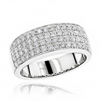 Mens 4 Row Diamond Wedding Band 1.39ct 14K Gold