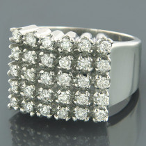 Mens 5 Row Diamond Ring w Round Diamonds 1.32ct