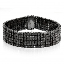 Mens 6 Row Black Diamond Bracelet 1.35ct Sterling Silver