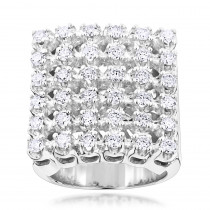 Mens 6 Row Diamond Ring w Round Diamonds 1.98ct