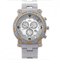 Mens Aqua Master Watch White Yellow Diamonds 3.60ct