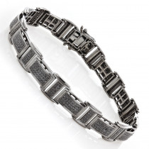 Mens Black Diamond Bracelet 2.54ct Black Rhodium Sterling Silver