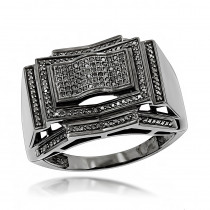 Mens Black Diamond Ring 0.5 ct 10K Gold