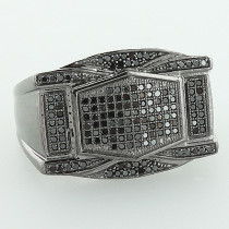 Mens Black Diamond Ring 0.65ct 10K Gold