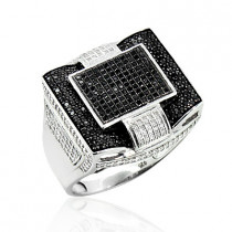 Mens Black Diamond Ring in Sterling Silver 1.30ct