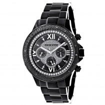 Mens Black Diamond Watch Luxurman 0.20ct Black Steel Band