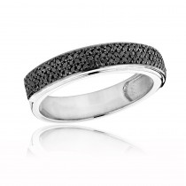 Mens Black Diamond Wedding Band 0.6ct 14K Gold Pave Diamonds Ring