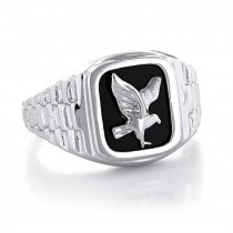 Mens Black Onyx Rings 14K White Gold Mens Eagle Ring
