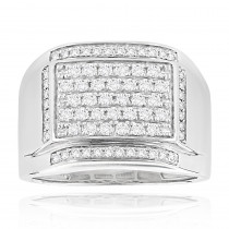 Mens Diamond Band 14K Gold Wedding Ring 1ct by Luxurman