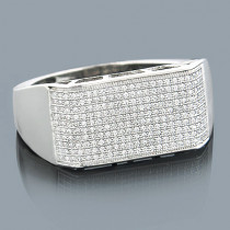 Mens Diamond Bands 14K Gold Diamond Ring 0.64ct