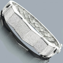 Mens Diamond Bangle Bracelet 1.73ct Sterling Silver