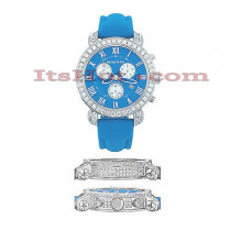 Mens Diamond Benny and Co Iced Out Watch 5ct Blue