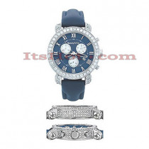 Mens Diamond Benny Co Watch 6ct Navy