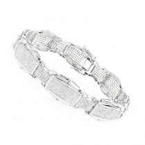 Mens Diamond Bracelet 3.27ct 10K Gold