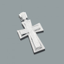 Large Sterling Silver Mens Genuine Diamond Cross Pendant 1.59ct